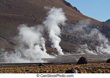 Volcanic hot spot - Geothermal area revealing thermal energy