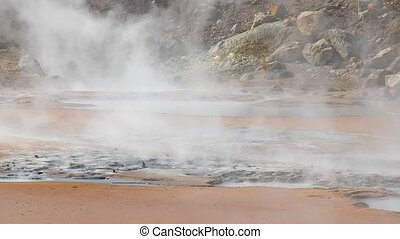 Volcanic hot spring steam in iceland