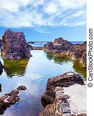 Volcanic island of Madeira and rocks