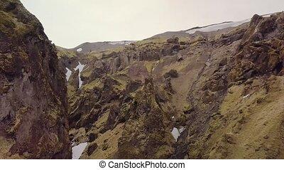 Volcanic landscape in Iceland - Landscape in Iceland, aerial...