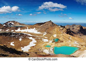 Volcanic landscape, New Zealand - Emerald Lakes, Tongariro ...