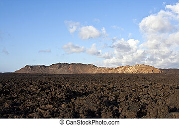 volcanic landscape under the extincted volcano