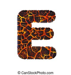 Volcanic letter E - Capital 3d Lava font - Volcano, Natural disasters or Fire concept