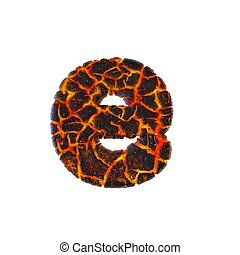 Volcanic letter E - Lower-case 3d Lava font - Volcano, Natural disasters or Fire concept