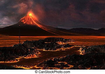 Volcanic Mountain - Red hot lava runs through the landscape...