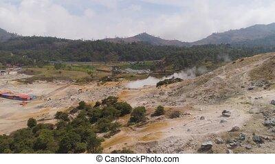 volcanic plateau Indonesia Dieng Plateau - plateau with...