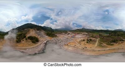 volcanic plateau Indonesia Dieng Plateau - vr360 Mud volcano...