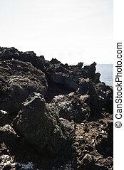 Volcanic rock in Pico island costline, Azores