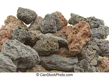 Volcanic rocks of different colors
