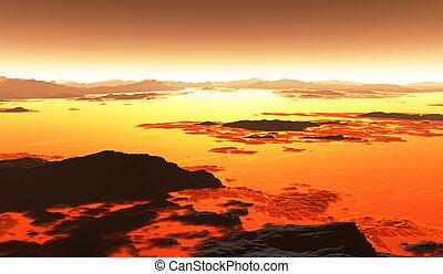 Volcanic terrain landscape, lava flow