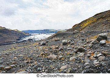 volcanic valley and Solheimajokull glacier