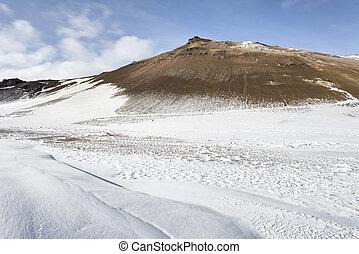 Volcanic winter landscape, Iceland