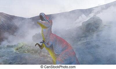 volcanique, dinosaure, paysage, métrage