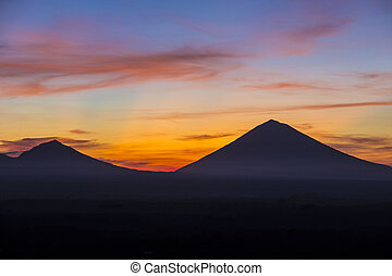 Volcano Agung at Sunrise Time,Bali,Indonesia.