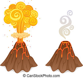 Cartoon illustration of volcano in 2 versions. No transparency used. Basic (linear) gradients.