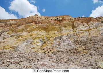 Volcano crater, Nisyros - Yellow sulphur crystals on the...