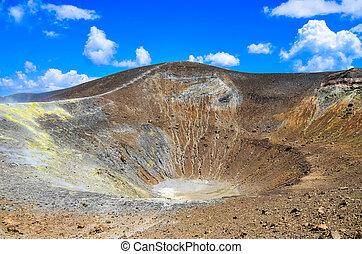 Volcano crater on Vulcano island, Lipari, Sicily, Italy