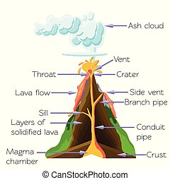 Volcano cros section diagram isolated on white background. Cartoon vector illustration in flat style.