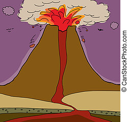 Cross section of a stratovolcano ejecting lava and pyroclasts