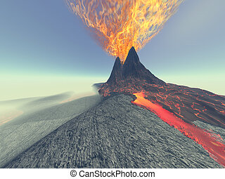 VOLCANO - A volcano comes to life with fire, smoke and lava.