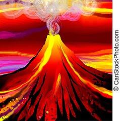 volcano - digital painting