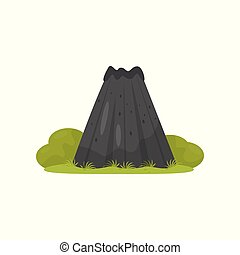 Volcano, element of tropical jungle landscape vector Illustration on a white background