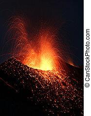 Volcano erupting - Strombolian eruption at volcano Stromboli...
