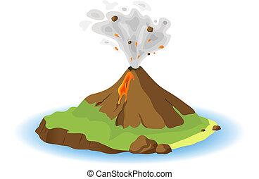 volcano erupting on island, vector illustration