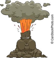 Erupting volcano on a white background vector illustration