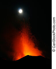 volcano eruptingwith Strombolian eruption