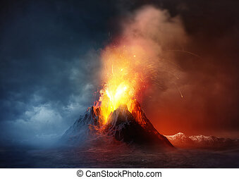 Volcano Eruption. A large volcano erupting hot lava and...