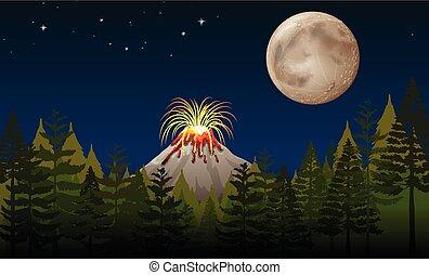 Volcano eruption at night illustration