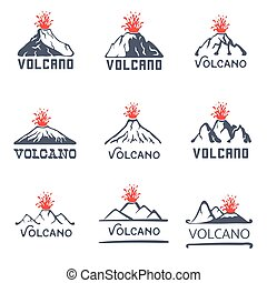Volcano eruption logo set, vector icons illustration on...