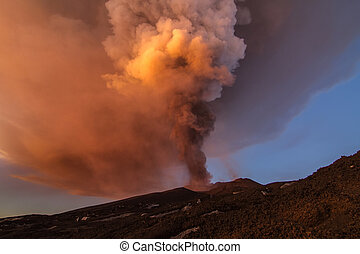 Volcano eruption. Mount Etna erupting from the crater ...