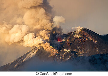 Volcano eruption. Mount Etna erupting from the crater ...