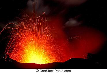 Volcano eruption - Night eruption of a volcano