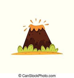 Volcano eruption vector Illustration on a white background