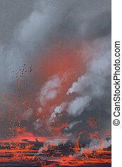 volcano eruption,lava,landscap