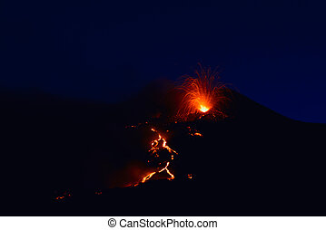 Etna eruption 08/2014 with explosions. Sicily - Italy