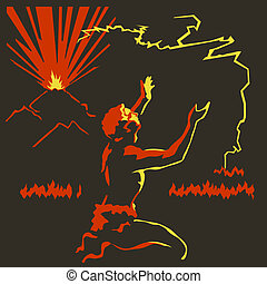 Volcano fire - Primitive man worshiping to fire appeared out...
