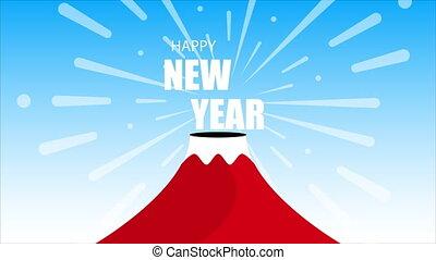 Volcano happy new year, art video illustration.