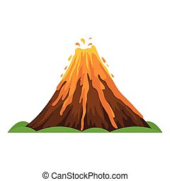 Volcano icon, cartoon vector illustration