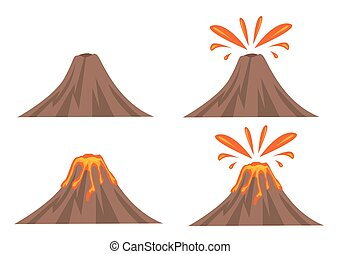Volcano Icon Set Isolated on White Background