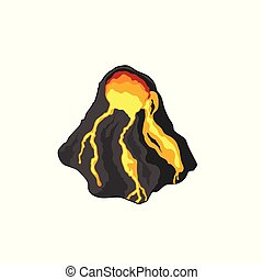 Volcano in isometric style. Isolated image of volcanic rock. Cartoon mountain 3d icon. Game sprite