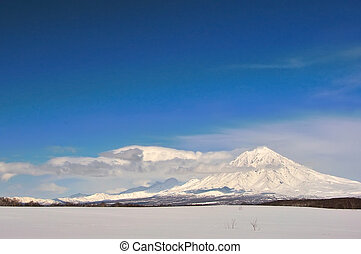 Volcano in Russia - Volcano with snow in winter day in ...