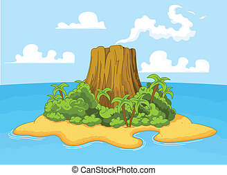 Volcano island - Illustration of volcano on desert island
