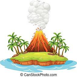Volcano island - Volcano on an island with smoke