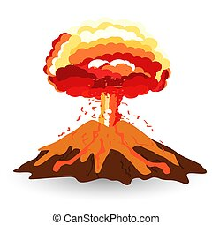 Volcano isolated on white photo-realistic vector illustration