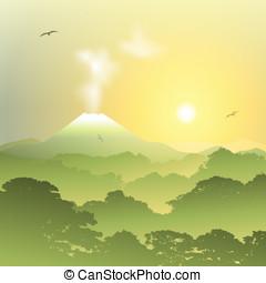 Volcano Landscape - A Misty Forest Landscape with Volcano...