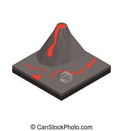 Volcano landscape icon, isometric 3d style